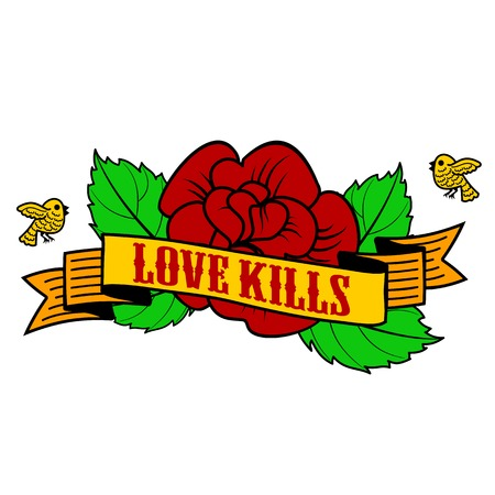 rose tattoo: Vector label with skull, rose, birds, ribbon and the words Love kills . Web graphics, tattoo, advertisements, brochures, labels, stikers Isolated on a white background Illustration
