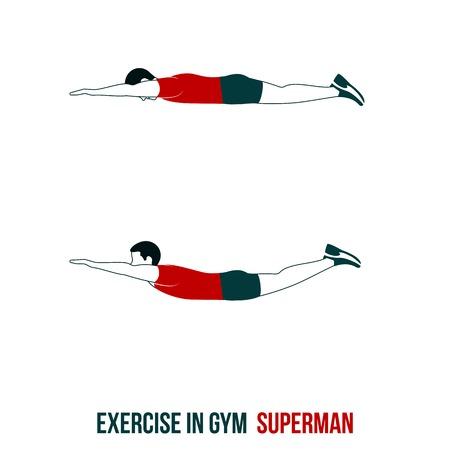 Fitness, aerobic en workout oefening in de sportschool. Vector set van de training pictogrammen in vlakke stijl op een witte achtergrond. Vector Illustratie