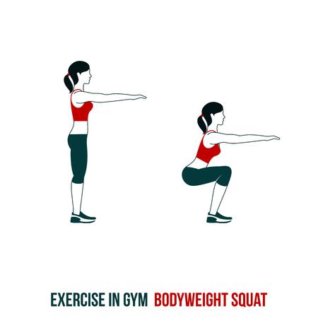 Fitness, aerobics en workout in de sportschool. Vectorreeks trainingpictogrammen in vlakke die stijl op witte achtergrond wordt geïsoleerd.