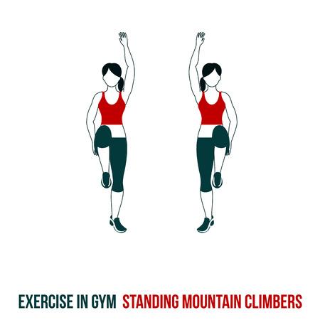 Fitness, aeróbic y ejercicios de entrenamiento en el gimnasio. Vector conjunto de iconos de entrenamiento en el estilo plano aislado en el fondo blanco.