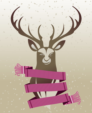 wrapped around: Warm knitted winter scarf wrapped around the neck of the deer against the backdrop of snow and spruce forest. Vector flat Illustration. Web banners, advertisements, brochures, business templates. Isolated on a white background. Illustration