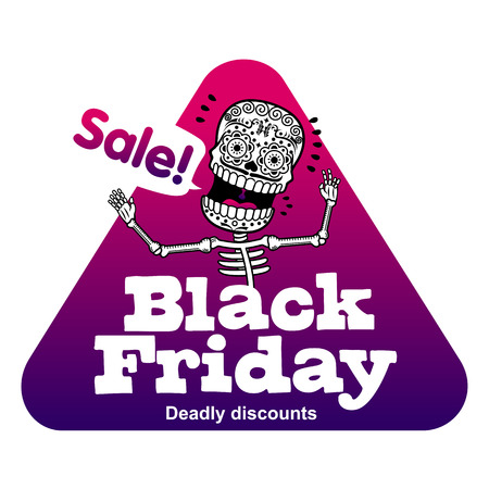 Black Friday sales tag. Vector flat Illustration, grouped for easy editing. Web banners, advertisements, brochures, business templates. Isolated on a white background.