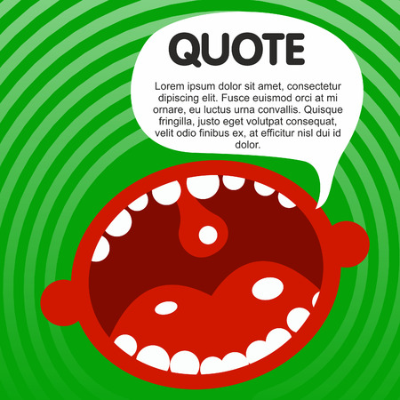The human mouth cartoon characters with quote bubble. Vector flat Illustration. Web banners, advertisements, brochures, business templates. Isolated on a white background.