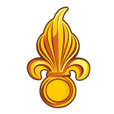 Golden fleur-de-lis decorative design or heraldic symbol. Vector flat Illustration. Web banners, advertisements, brochures, business templates. Isolated on a white background.