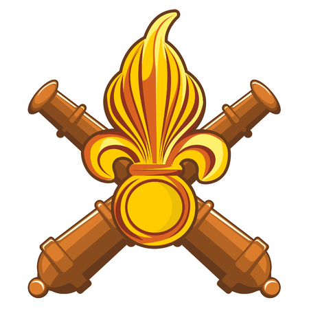 Golden fleur-de-lis decorative design or heraldic symbol on heraldic shield with cannon guns. Vector flat Illustration. Web banners, advertisements, brochures, business templates. Isolated on a white background.