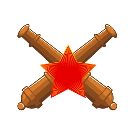 red star: Old cannon gun with red star. Vector flat Illustration. Web banners, advertisements, brochures, business templates. Isolated on a white background.