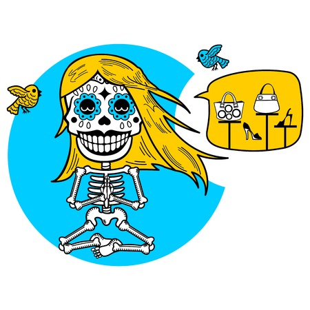 Calaveras. Vector flat and linear Illustration of skeleton. Web banners, advertisements, brochures, business templates. Isolated on a white background.