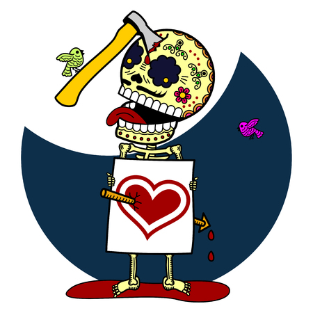 mexican boys: Calaveras. Vector flat and linear Illustration of skeleton. Web banners, advertisements, brochures, business templates. Isolated on a white background.