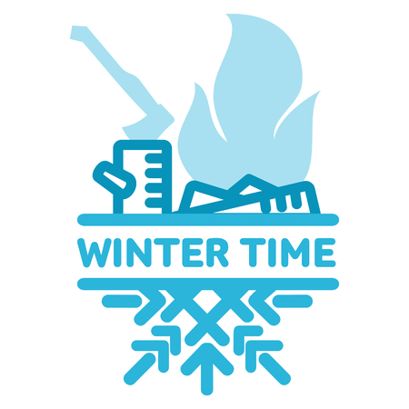 wintertime: Blue wintertime sticker. The smoking fire. Winter, christmas, new year. Vector line Illustration. Web banners, advertisements, brochures, business templates Isolated on a white background