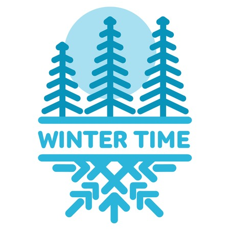 wintertime: Blue wintertime sticker. Pine forest. Winter, christmas, new year. Vector line Illustration. Web banners, advertisements, brochures, business templates Isolated on a white background Illustration