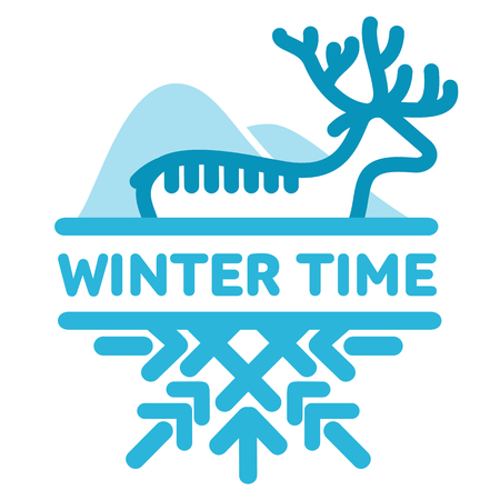 wintertime: Blue wintertime sticker. Deer, mountains. Winter, christmas, new year. Vector line Illustration. Web banners, advertisements, brochures business templates Isolated on a white background