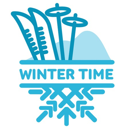 wintertime: Blue wintertime sticker. Mountains and skiing. Winter, christmas, new year. Vector line Illustration. Web banners, advertisements, brochures, business templates Isolated on a white background