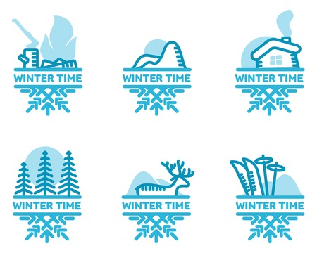 wintertime: Blue wintertime sticker. Fire, mountains, hut, skiing, deer, pine forest. Winter, christmas, new year. Vector line Illustration Web banners advertisements brochures Isolated on a white background