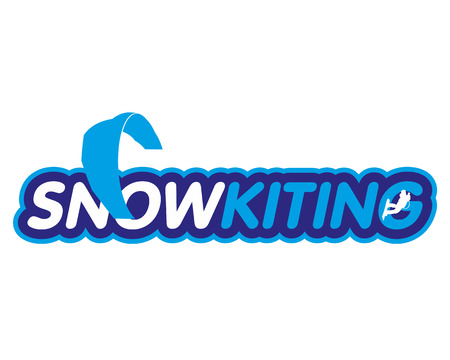 Vector sticker snowkiting, ryder, kite and snowboarding. Winter extreme sports. Vector Illustration. Web banners, advertisements, brochures, business templates. Isolated on a white background