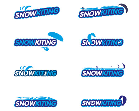 snowkiting: Vector sticker snowkiting, ryder, kite and snowboarding. Winter extreme sports. Vector Illustration. Web banners, advertisements, brochures, business templates. Isolated on a white background