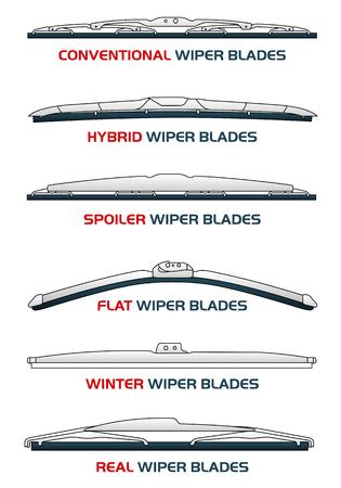 Vector illustratie auto wisserbladen. Auto, auto-onderdelen, regen, sneeuw, slecht weer, herfst, winter. Web banners, advertenties, brochures, zakelijke sjablonen. Geïsoleerd op een witte achtergrond