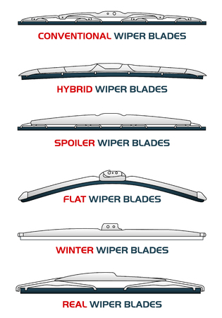 blades: Vector illustration car WIPER BLADES. Car, Car parts, rain, snow, bad weather, autumn, winter. Web banners, advertisements, brochures, business templates. Isolated on a white background Illustration