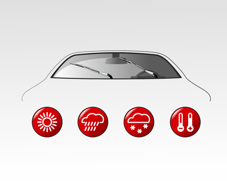 bad weather: Vector illustration Car and weather icon. Car parts, rain, snow, bad weather, autumn, winter. Web banners, advertisements, brochures, business templates. Isolated on a white background