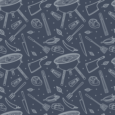 grill tongs sausage: Meat steaks, BBQ, vector food seamless texture pattern. Seamless pattern can be used for wallpaper, pattern fills, web page background, surface textures.