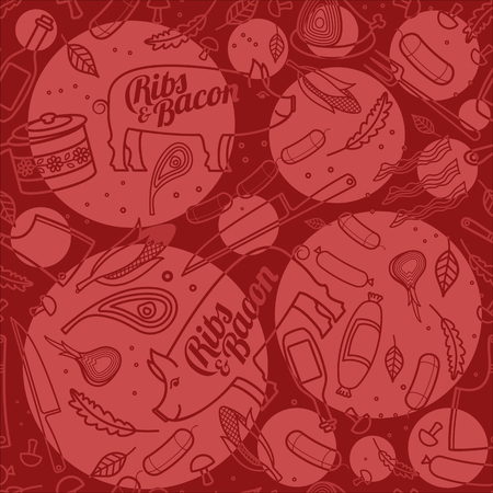 porc: Porc, ribs, bacon, vector seamless texture pattern. Seamless pattern can be used for wallpaper, pattern fills, web page background, surface textures.