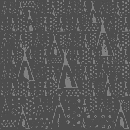 Wigwam, lodge vector seamless texture pattern. Seamless pattern can be used for wallpaper, pattern fills, web page background, surface textures. Illustration