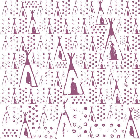 shilouette: Wigwam, lodge vector seamless texture pattern. Seamless pattern can be used for wallpaper, pattern fills, web page background, surface textures. Illustration