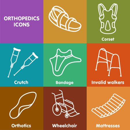back belt: Vector set line icon orthopedic insole. Medical equipment , health, physiotherapy, correct. Advertisements, signs, stickers, banners signage. Isolated on White Background. Illustration