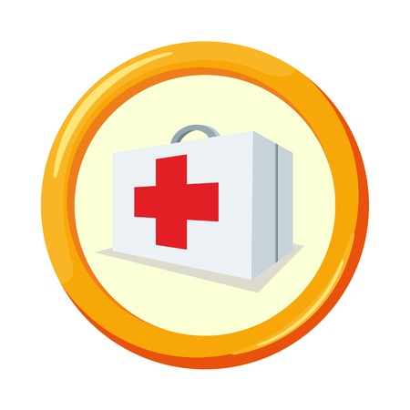 voluntary: Vector flat insurance icons. Voluntary health insurance. Round yellow frame. Advertisements, signs, stickers, banners signage. Isolated on a white background Illustration