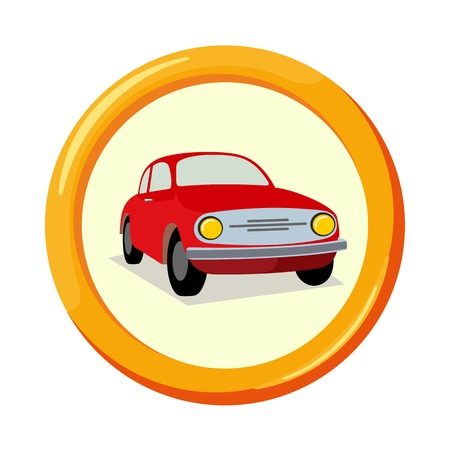 insured: Vector flat insurance icons. Car Insurance. Round yellow frame. Advertisements, signs, stickers, banners signage. Isolated on a white background