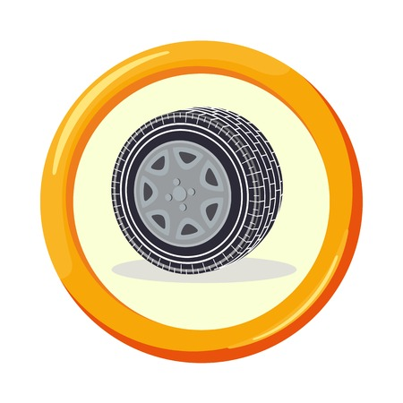 voluntary: Vector flat insurance icons. Voluntary car insurance. Round yellow frame. Advertisements, signs, stickers, banners signage. Isolated on a white background Illustration