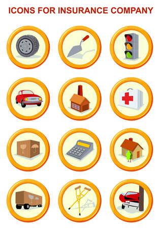 insure: Vector flat insurance icons. Round yellow frame. Advertisements, signs, stickers, banners signage. Isolated on a white background Illustration