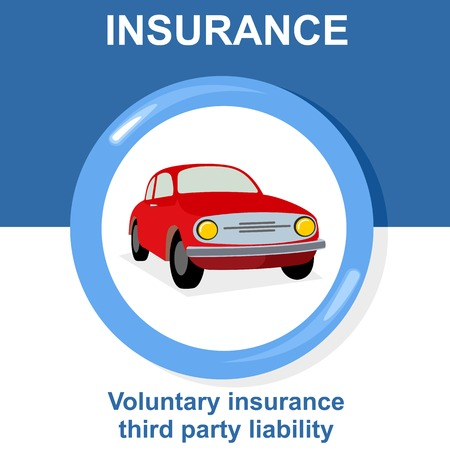 Vector flat insurance icons. Car Insurance. Round yellow frame. Advertisements, signs, stickers, banners signage. Isolated on a white background