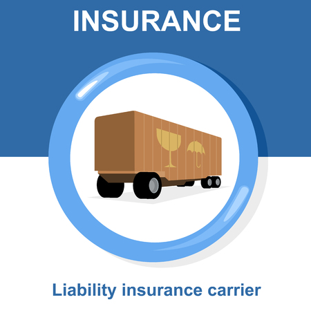 liability insurance: Vector flat insurance icons. Round yellow frame. Liability insurance carrier. Advertisements, signs, stickers, banners signage. Isolated on a white background