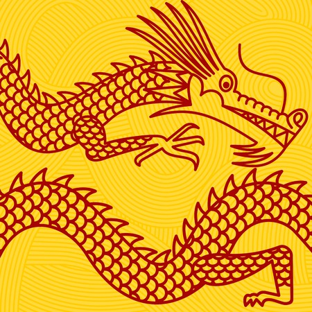 Vector illustration oriental dragon. Traditional Japanese and Chinese symbol. Advertisements, signs, stickers, web banners, signage. On a yellow background. Illustration