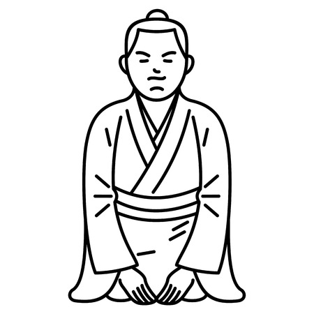 Vector illustration sitting japanese boy. Traditional Japanese clothes Advertisements, signs, stickers, web banners, signage. Isolated on a white background.