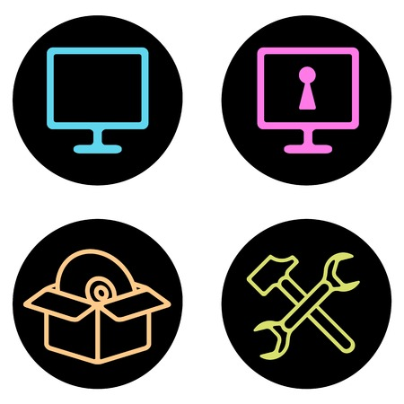 computer repair: Computer Repair vector icon set in line style. Computer, network monitor and cd. Repair tols. Advertisements, signs, stickers, web banners, web sites. Isolated on a white background