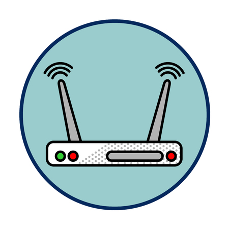 Internet router vector icon in line style. Computer, network and Internet. Network connections. Advertisements, signs, stickers, web banners, web sites. Isolated on a white background