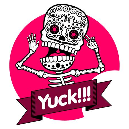 Vecteur plat et linéaire Illustration du squelette. Les émotions humaines, surprise, la joie, la peur. bannières Web, des publicités, des brochures, des modèles d'affaires. Isolé sur un fond blanc.