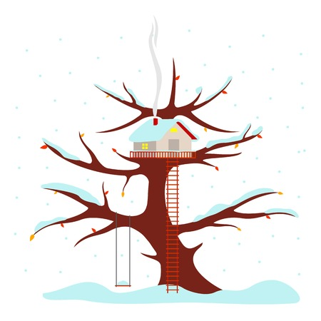 wooden stairs: Tree house vector illustration in flat style. Hut on the tree. Snow on the branches and the roof of the house. Falling snowflakes. Advertisements, signs, stickers. Isolated on a white background