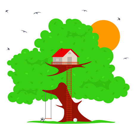 Tree house vector illustration in flat style. Hut on the tree. Green tree in the summer sunshine. Around the tree swallows fly. Advertisements, signs, stickers. Isolated on a white background Illustration