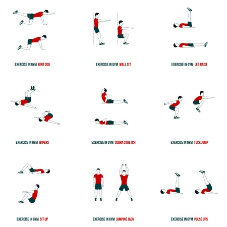 lunges: Fitness, Aerobic and workout exercise in gym. Vector set of workout icons in flat style isolated on white background.