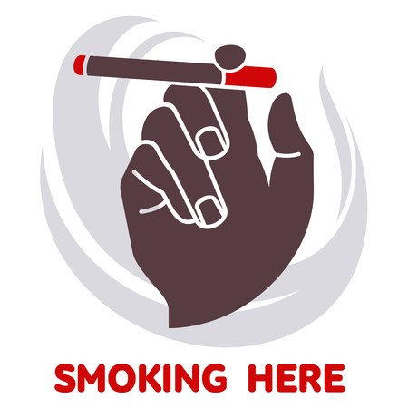 Vector icon on smoking in flat style. Hand holding a cigarette. Text to smoke here. The poster, sticker, sign. Isolation on a white background. Illustration