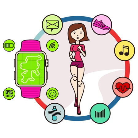 smart girl: Vector icons running girl and smart watch with watch app in cartoon style. Motivational poster, banners, brochures, covers. Watch icon on smart watch screen. Isolated on white background.