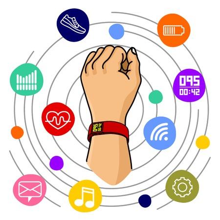 wristband: Vector illustration of fitness band, hand bracelet. Fitness tracker for sports. Rubber eraser bracelet for wrist. Motivational poster, banners, brochures, covers. Isolated on white background.