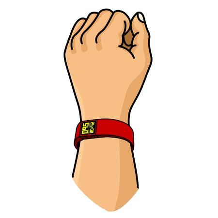 Vector illustratie van een hand met fitness armband. Fitness tracker voor de sport. Rubbergom armband voor pols. Motieven affiche, banners, brochures, dekt. Geïsoleerd op een witte achtergrond.