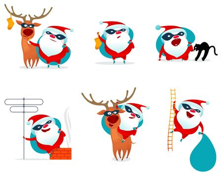 white stockings: Vector illustration on Santa Claus masked superhero. Falling snowflakes. Bag with gifts and stockings. New Year, Christmas, Merry Christmas. Card, stickers, poster. Isolated on a white background