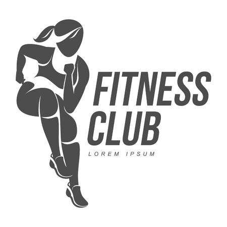 ejercicio aeróbico: logotipo de entrenamiento. Fitness, aeróbic y ejercicios de entrenamiento en el gimnasio. El conjunto del vector de la insignia del entrenamiento aislado en el fondo blanco.