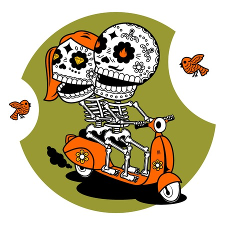 Vector flat and linear Illustration of skeleton. Hipster young man and woman couple on a scooter. Web banners, advertisements, brochures, business templates. Isolated on a white background.