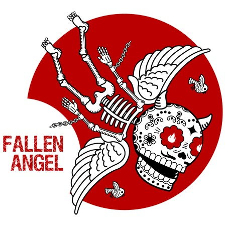 fallen: Vector flat and linear Illustration of skeleton. Fallen angel. Demon in chains on a red background. Web banners, advertisements, brochures, business templates. Isolated on a white background. Illustration