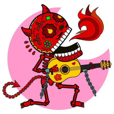 Vector flat and linear Illustration of skeleton. The devil plays guitar and sings a serenade. Web banners, advertisements, brochures, business templates. Isolated on a white background.